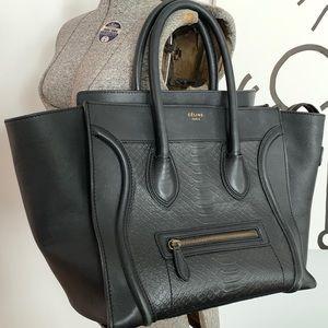 Celine Embossed Python Mini Luggage Leather Bag